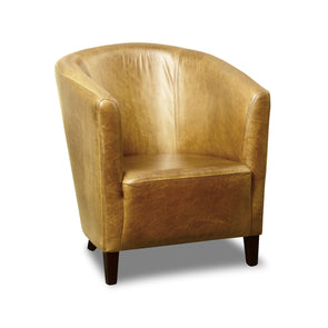 The Tub Chair Cerato Latte Genuine Leather Tub Chair