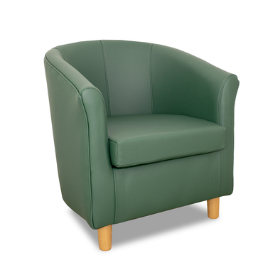 Tuscany Green Genuine Leather Tub Chair