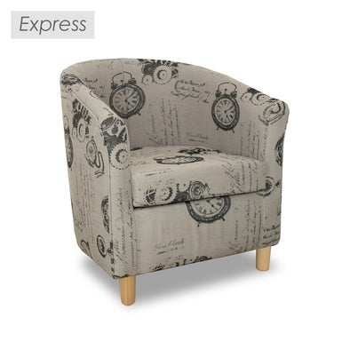 Clearance - Express Tuscany Clocks Fabric Tub Chair