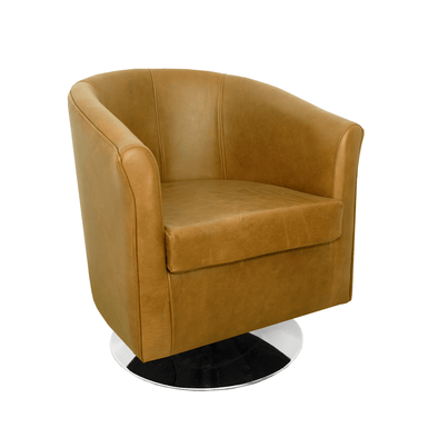Tuscany Genuine Leather Swivel Tub Chair in Crib 5 Mustang
