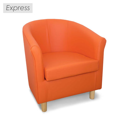 Express Tuscany Orange Faux Leather Tub Chair