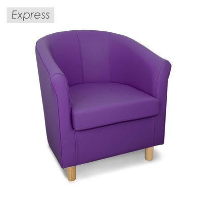 Express Tuscany Purple Faux Leather Tub Chair