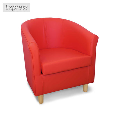 Special Offer - Express Tuscany Red Faux Leather Tub Chair