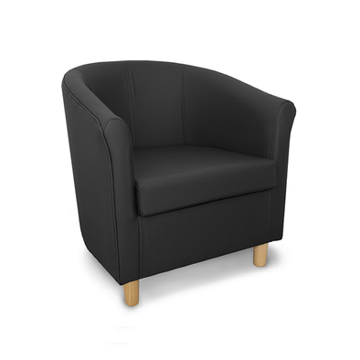 Tuscany Crib 5 Style Black Genuine Leather Tub Chair