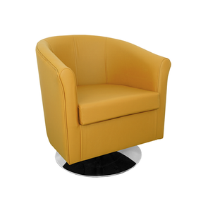 Tuscany Crib 5 Style Mustard Genuine Leather Swivel Tub Chair