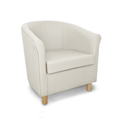 Tuscany Crib 5 Style White Genuine Leather Tub Chair