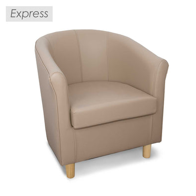 Express Tuscany Taupe Faux Leather Tub Chair