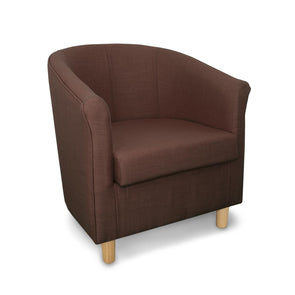 Tuscany Fabric Tub Chair in Crib 5 Turin Brown Linen