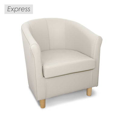 Express Tuscany White Faux Leather Tub Chair