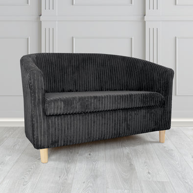 Tuscany Metropolis Black Plain Texture Fabric 2 Seater Tub Sofa