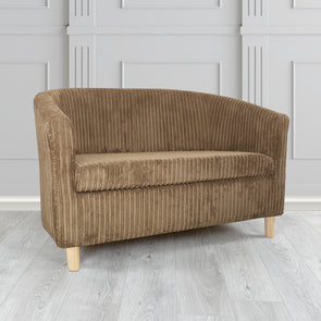 Tuscany Metropolis Plain Texture Fabric 2 Seater Tub Sofa - 2 Brown Colours