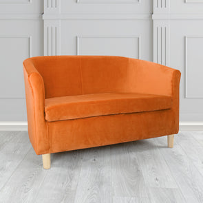 Tuscany Plush Burnt Orange Velvet Fabric 2 Seater Sofa