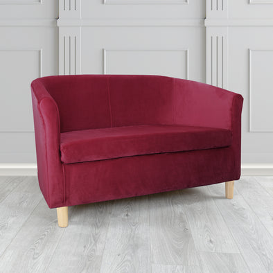 Tuscany Plush Velvet Fabric 2 Seater Sofa - 2 Red Colours