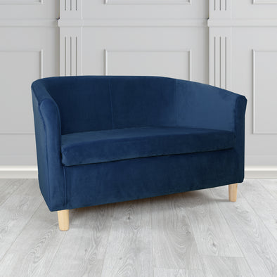 Tuscany Plush Velvet Fabric 2 Seater Sofa - 2 Blue Colours