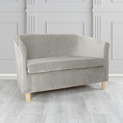 Tuscany Plush Velvet Fabric 2 Seater Sofa - 2 Grey Colours
