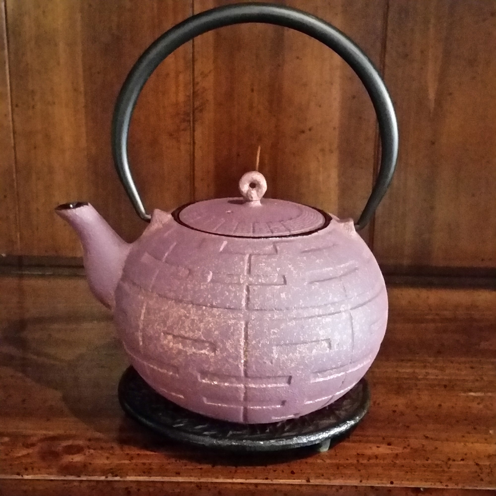Cast Iron Teapot- With Trivet - Purple Gold