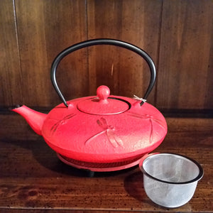 Cast Iron Teapot - Red Dragonfly - The Tea & Spice Shoppe