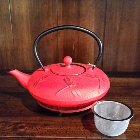 Cast Iron Teapot - Red Dragonfly