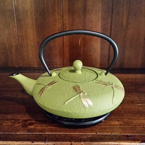 Cast Iron Teapot - Green Dragonfly - The Tea & Spice Shoppe