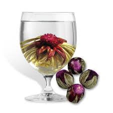 Volcano Flower Burst Tea- Artisan Tea, Flowering Tea, Blooming Tea Ball- Ingredients: Luxury Green Tea, Amaranth, Hibiscus, Lavender Blossoms