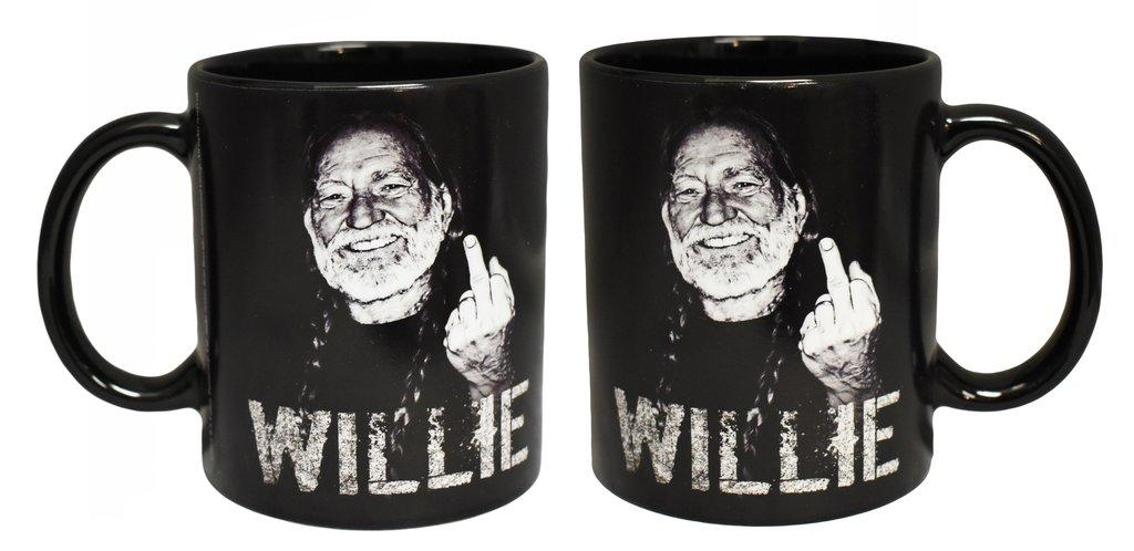 "Willie Nelson Mug ""Middle Finger"""