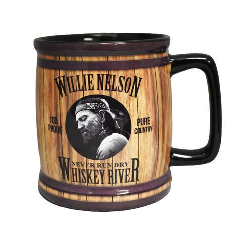 "Willie Nelson Mug Barrel ""Whiskey River"""