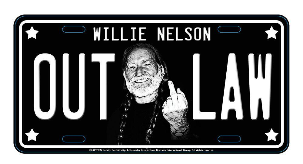 Willie Nelson License Plate Middle Finger