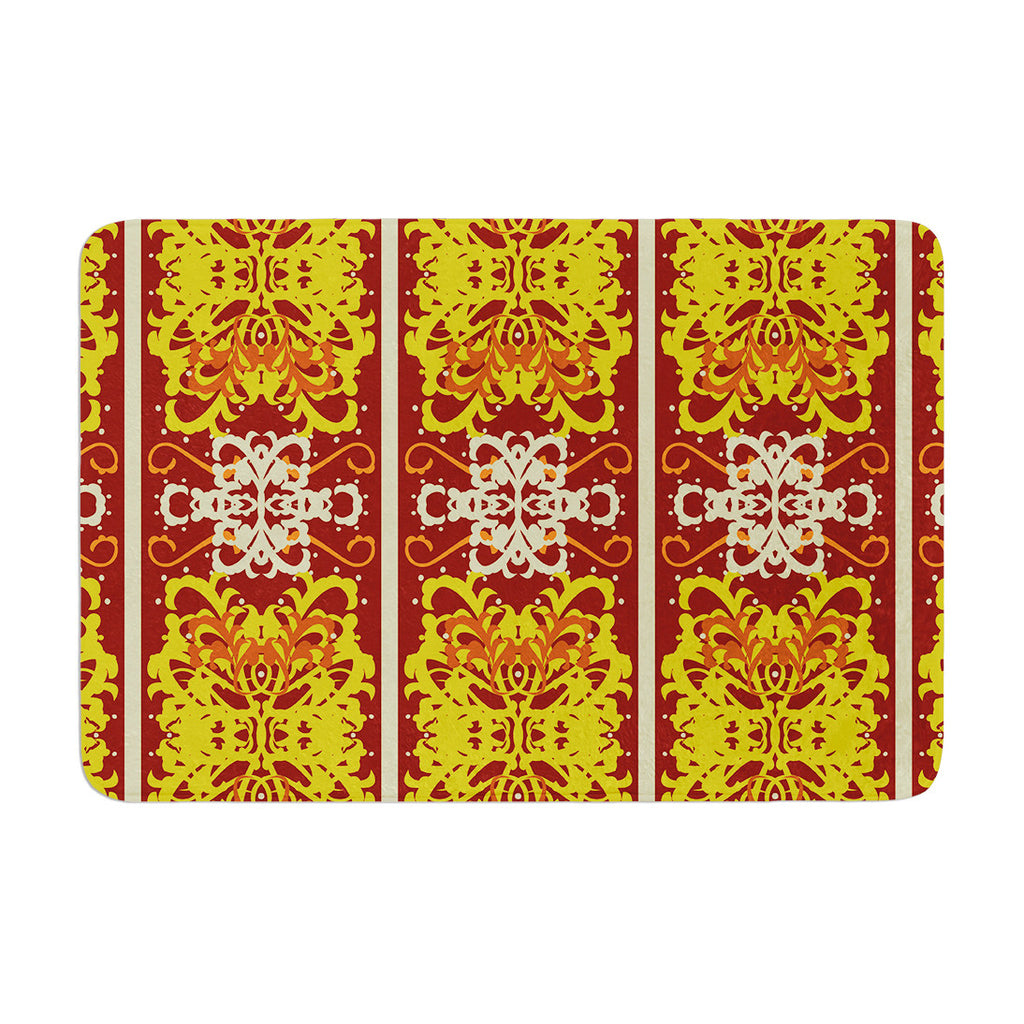 "Mydeas ""Butterfly Dog Damask"" Yellow Red Memory Foam Bath Mat - KESS InHouse"