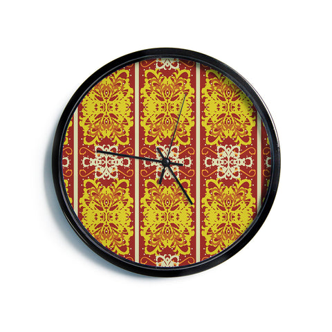 "Mydeas ""Butterfly Dog Damask"" Yellow Red Modern Wall Clock"