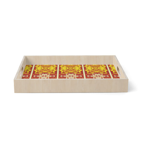 "Mydeas ""Butterfly Dog Damask"" Yellow Red Birchwood Tray"