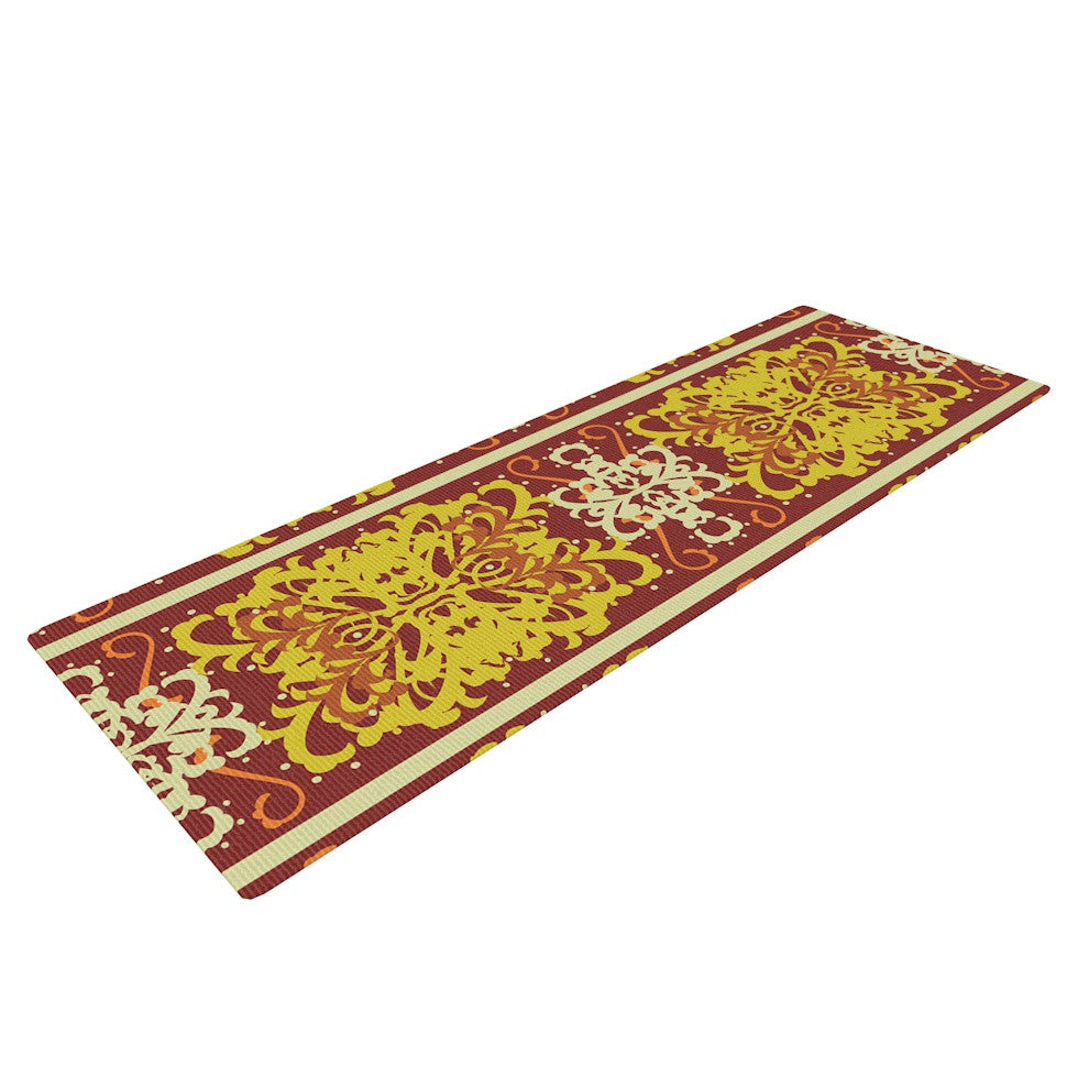 "Mydeas ""Butterfly Dog Damask"" Yellow Red Yoga Mat - KESS InHouse  - 1"