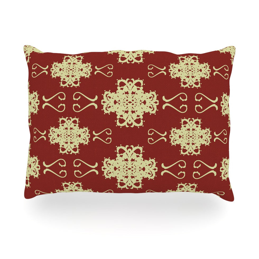 "Mydeas ""Asian Motif Damask"" Red Pattern Oblong Pillow - KESS InHouse"