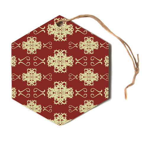"Mydeas ""Asian Motif Damask"" Red Pattern Hexagon Holiday Ornament"