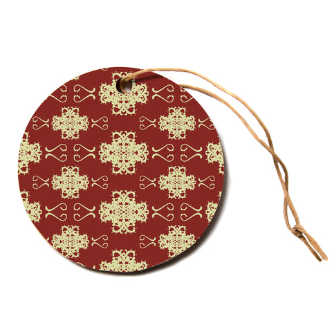 "Mydeas ""Asian Motif Damask"" Red Pattern Circle Holiday Ornament"