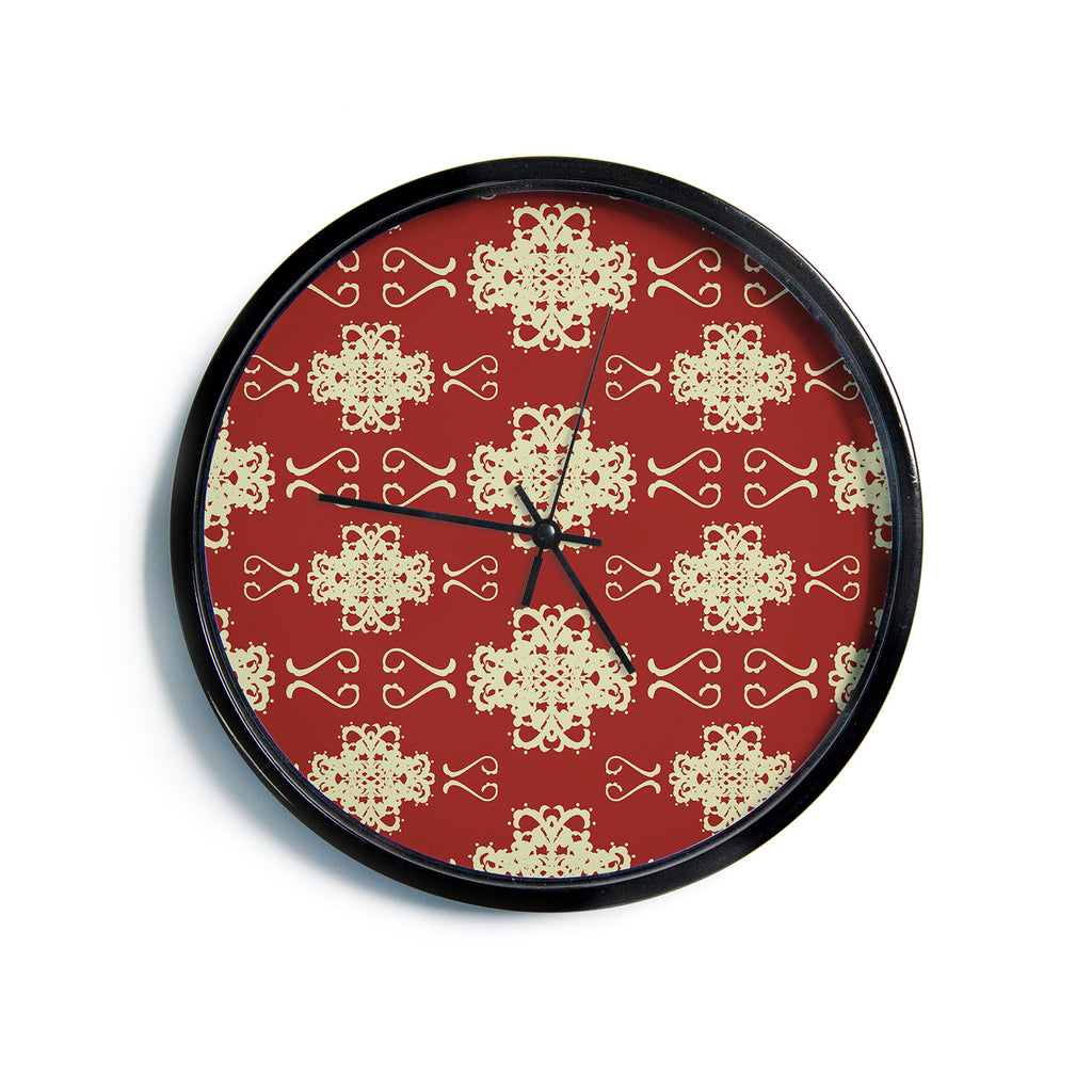 "Mydeas ""Asian Motif Damask"" Red Pattern Modern Wall Clock"