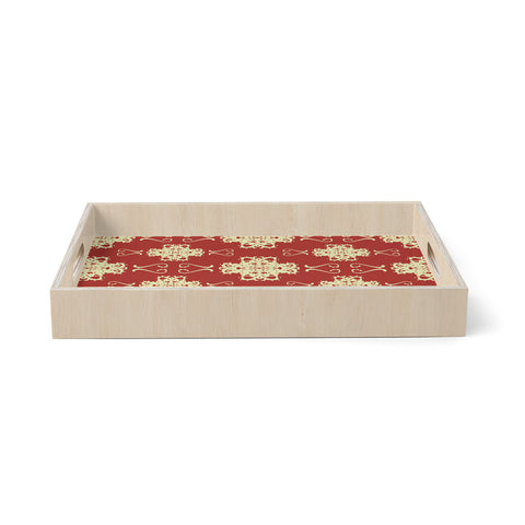 "Mydeas ""Asian Motif Damask"" Red Pattern Birchwood Tray"