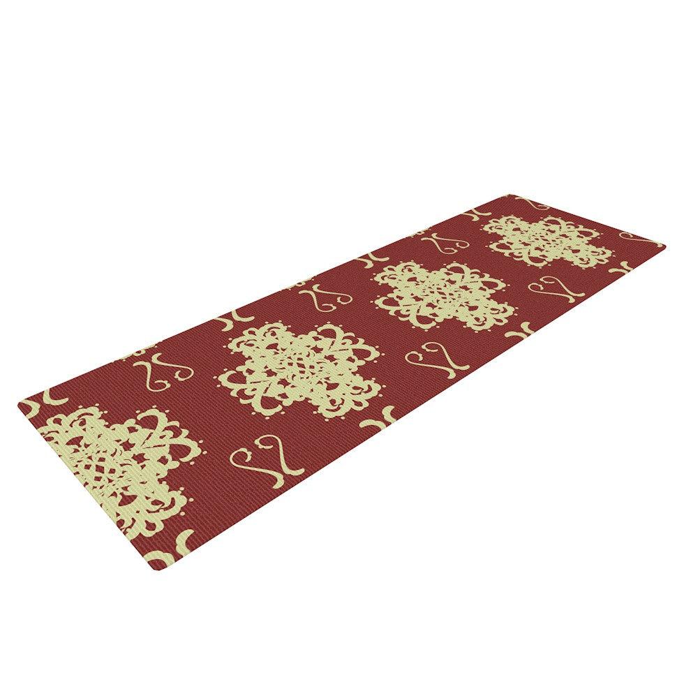 "Mydeas ""Asian Motif Damask"" Red Pattern Yoga Mat - KESS InHouse  - 1"