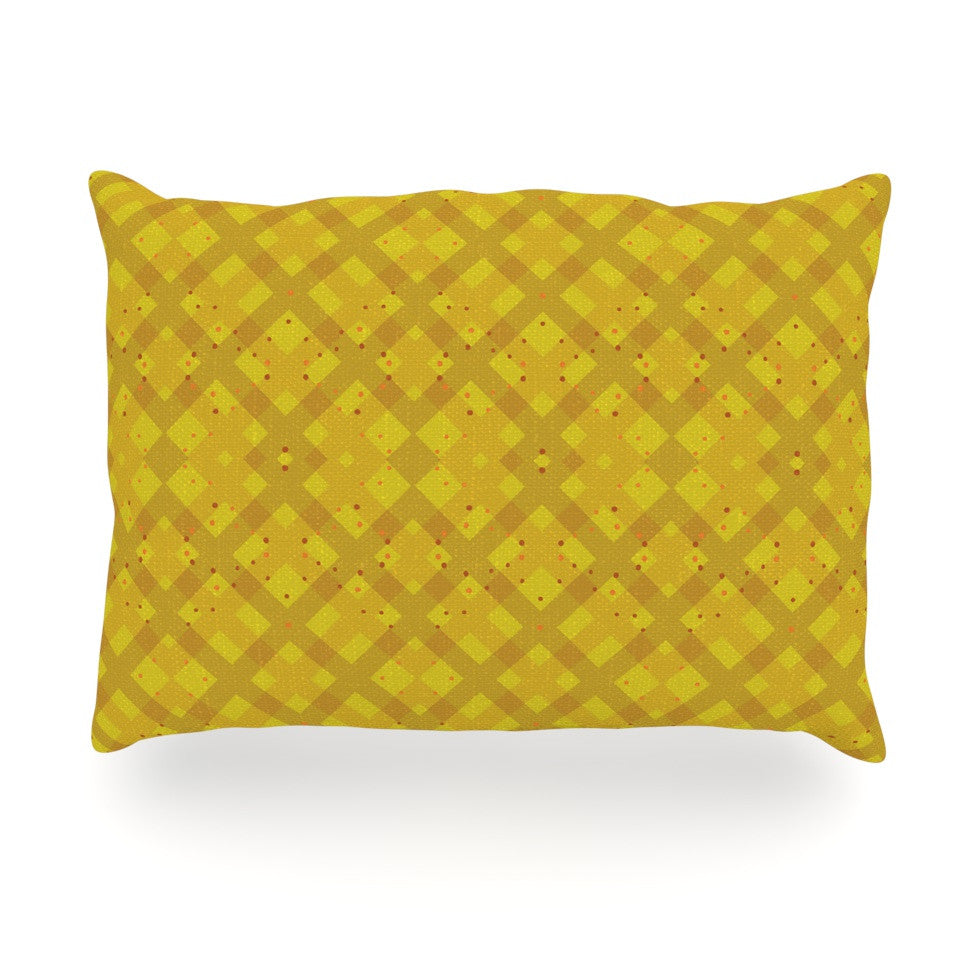"Mydeas ""Dotted Plaid"" Geometric Yellow Oblong Pillow - KESS InHouse"