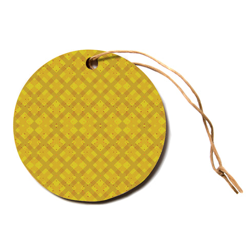 "Mydeas ""Dotted Plaid"" Geometric Yellow Circle Holiday Ornament"