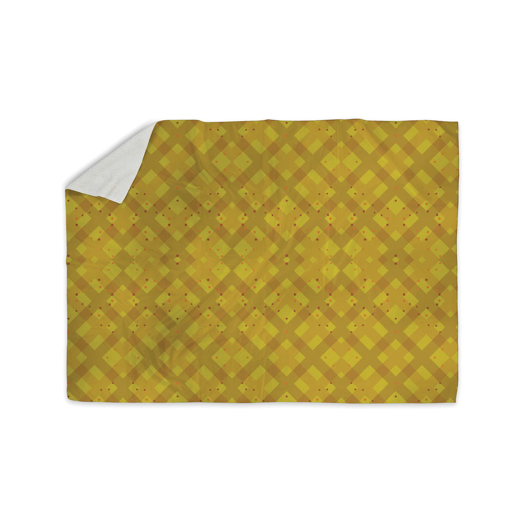 "Mydeas ""Dotted Plaid"" Geometric Yellow Sherpa Blanket - KESS InHouse  - 1"