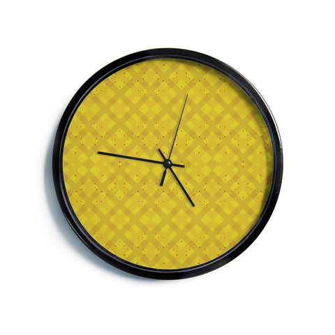 "Mydeas ""Dotted Plaid"" Geometric Yellow Modern Wall Clock"