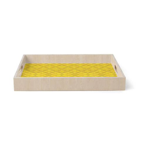 "Mydeas ""Dotted Plaid"" Geometric Yellow Birchwood Tray"
