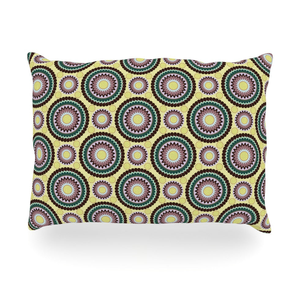 "Mydeas ""Patio Decor"" Yellow Teal Oblong Pillow - KESS InHouse"