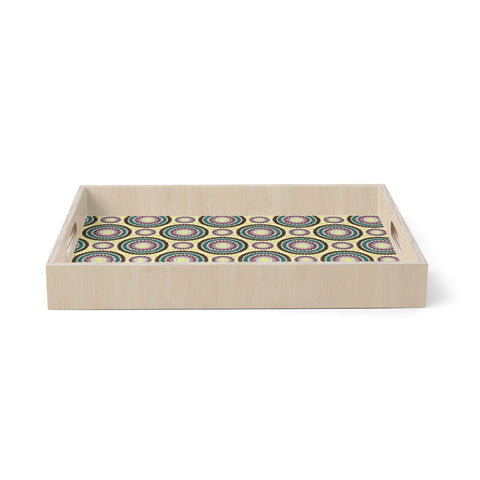 "Mydeas ""Patio Decor"" Yellow Teal Birchwood Tray"