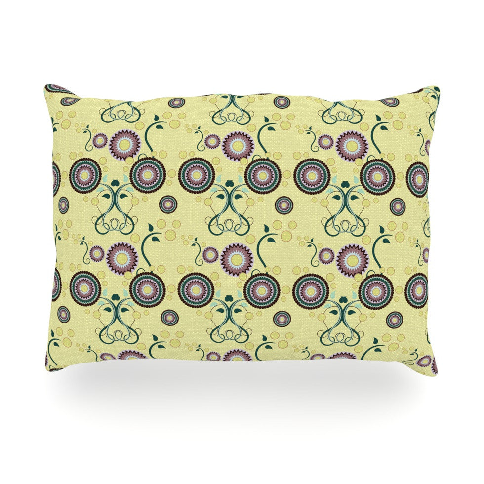 "Mydeas ""Spring Florals"" Yellow Multicolor Oblong Pillow - KESS InHouse"