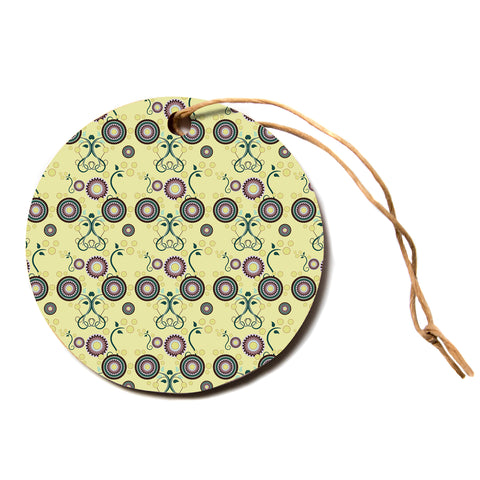 "Mydeas ""Spring Florals"" Yellow Multicolor Circle Holiday Ornament"