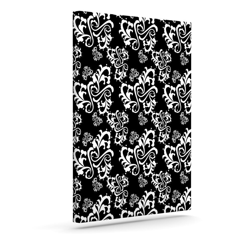 "Mydeas ""Sweetheart Damask Black & White"" Pattern Canvas Art - KESS InHouse  - 1"