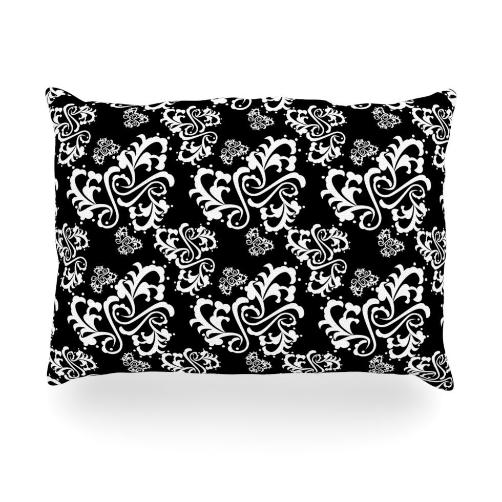 "Mydeas ""Sweetheart Damask Black & White"" Pattern Oblong Pillow - KESS InHouse"