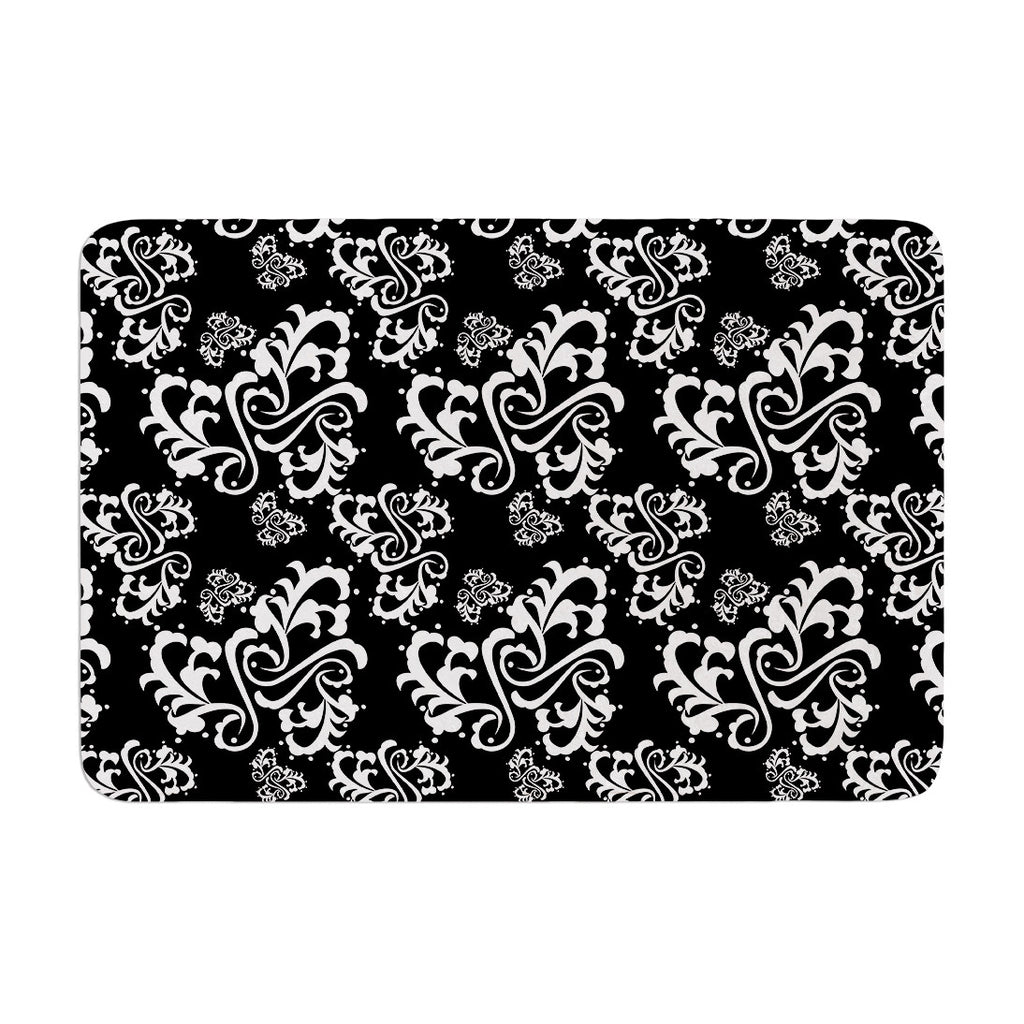 "Mydeas ""Sweetheart Damask Black & White"" Pattern Memory Foam Bath Mat - KESS InHouse"