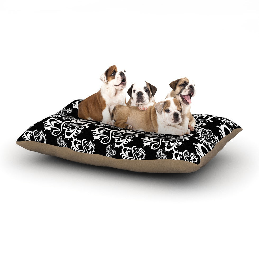 "Mydeas ""Sweetheart Damask Black & White"" Pattern Dog Bed - KESS InHouse  - 1"
